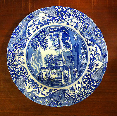 "Spode Blue Italian Rim Soup Bowl 9"" Made in England Rimsoup"