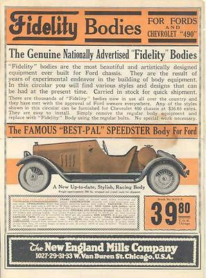 1920 ? Ford Model T Chevrolet 490 Fidelity Speedster Body Brochure Poster wu6067