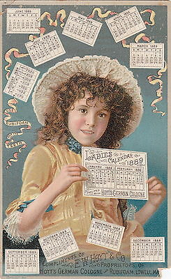 1889 calendar young pretty lttle girl with hat , Hoyt's German Cologne victorian