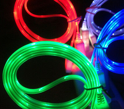 1pcs 1M LED Light USB Data Sync Charger Charging Cable Line Cord for iPhone 4 4s