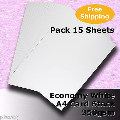 15 Sheets Economy Card Stock WHITE A4 Size 350gsm #H5608 #D1
