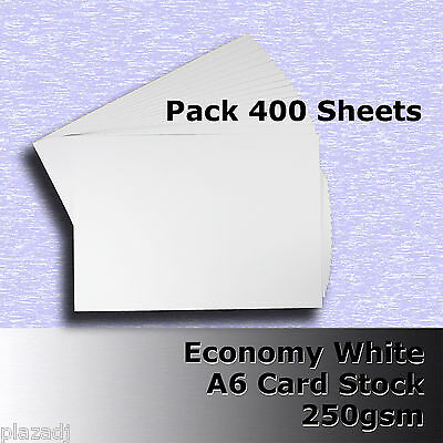 400 Sheets Economy Card Stock WHITE A6 Size 250gsm #H5302