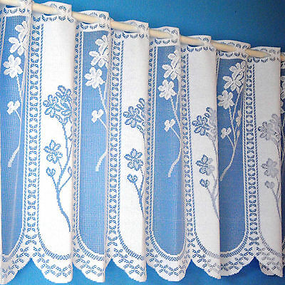 "Quality Heavy Floral Panel White Cafe Net Sold By The Metre. 12"", 18"", 24"" Drops"