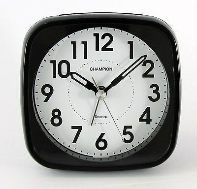 Classic Bold Traditional BLack Quartz Sweeping Non Ticking Alarm Clock MF838BLK