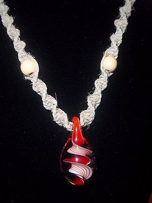 """New Hand Crafted Hemp Necklace with """"Hand Blown""""  Red and Black Glass Pendant"""