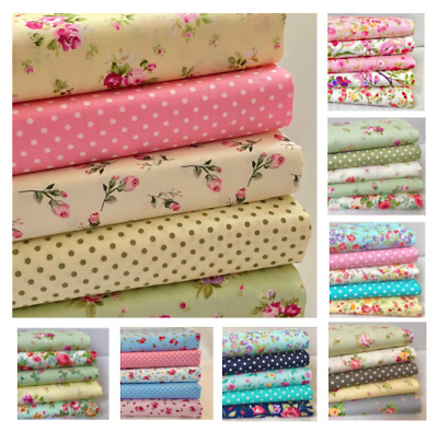 FAT QUARTER BUNDLE 100% Cotton fabric,  Rose & Hubble sewing. uk seller