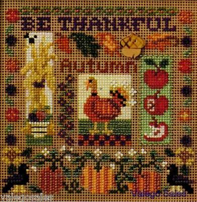 """Mill Hill Buttons Beads Counted Cross Stitch Kit 5"""" x 5"""" ~ BE THANKFUL #14-7202"""