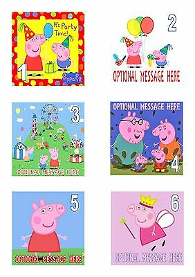 """Peppa Pig George Iced / Icing Edible Cake Topper  7.5"""" Personalised Square"""