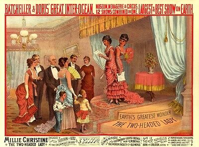 VICTORIAN ANTIQUE CIRCUS FREAK SHOW ATTRACTION TATTOOED MAN POSTER A3 REPRINT