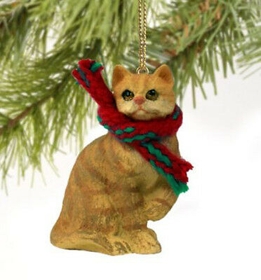 SHORTHAIRED RED TABBY CAT CHRISTMAS ORNAMENT HOLIDAY Figurine kitten gift