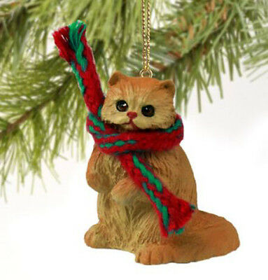 RED PERSIAN CAT CHRISTMAS ORNAMENT HOLIDAY Figurine kitten gift