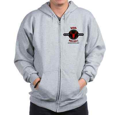 """34TH INFANTRY DIVISION WW II"""" RED BULL """" CAMPAIGN LEFT CHEST ZIPPER HOODIE"""
