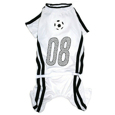 949 S~5L White/Black Soccer Overall Jumpsuit /Dog Clothes Sweater Jacket Coat -N