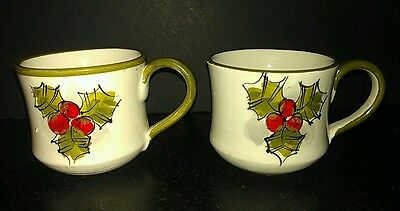 2 Vintage Majolica HH Italy 6443 Demitasse Cups ~ Holly Berry Pattern