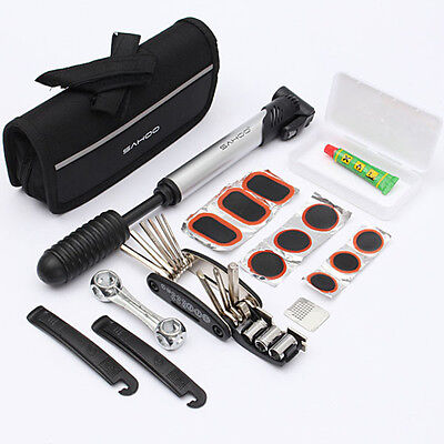 Bike Cycle Bicycle Tool Kit with Pump Tyre Levers Patches Puncture Repair Set