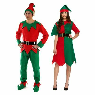 Christmas Elf Fancy Dress Party Costume Mens Womens Male Female Adult Size