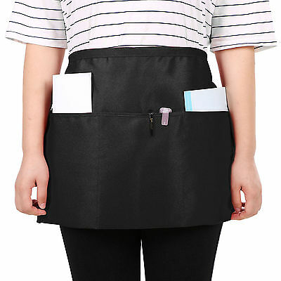 Comfortable Women Men Black Waist Apron Home Kitchen 3 Pockets Waist Cloth