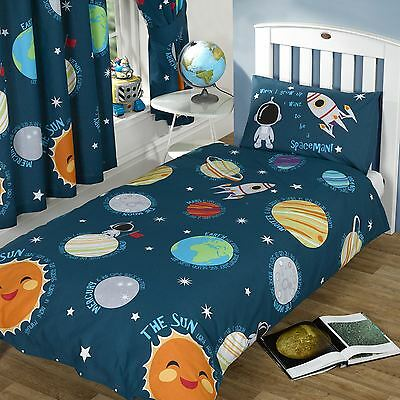 Solar System Space Planets - Single Double Junior Duvet Covers Matching Curtains