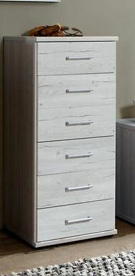 German Driftwood White Oak Tall Narrow 6 Drawer Chest Shabby Chic