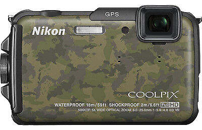 Nikon Coolpix AW110 16.0 MP Digital Camera Camouflage New! FREE SHIPPING