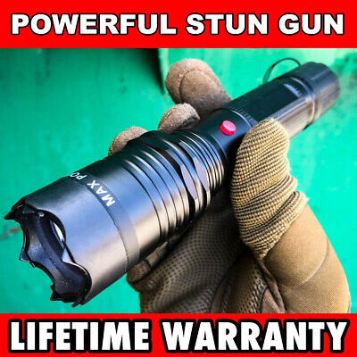 "7"" Military POLICE Tactical 300MV Stun Gun Rechargeable LED Flashlight Black NEW"