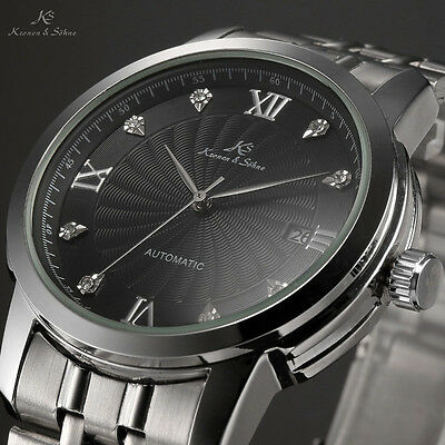 Classic Stainless Steel Back Calendar Display Automatic Mechanical Men's Watch