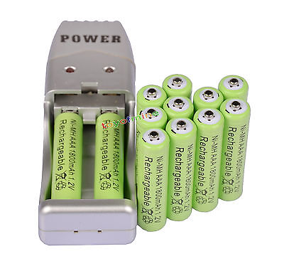 12 X AAA 3A 1800mah1.2V NiMH rechargeable batterie Vert + USB Chargeur