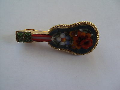 Vintage  ITALIAN GLASS MICRO MOSAIC GUITAR BROOCH signed Italy