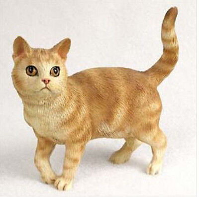 SHORTHAIRED RED TABBY CAT Figurine Statue Hand Painted Resin Gift Standing