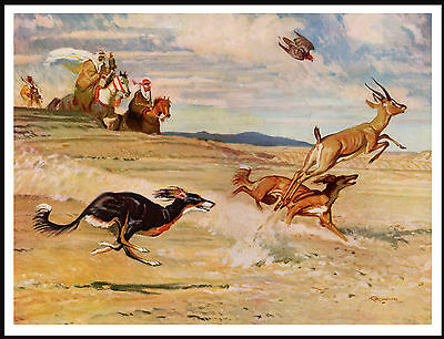 Saluki Desert Scene Dogs Hunting Lovely Dog Print Poster