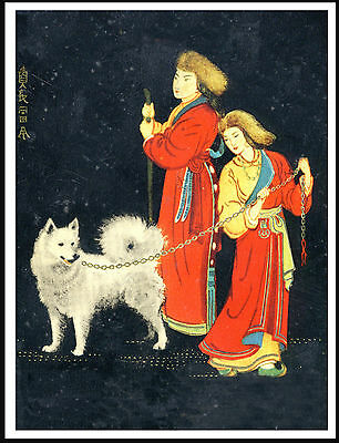 Samoyed With Reindeer Herders Lovely Vintage Style Dog Art Print Poster