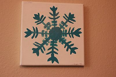 A Blue snowflake painting on a white background 8x8 canvas