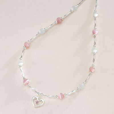 Girls Necklace with Heart Pendant. Pink & White, Other Colours. Girls Jewellery