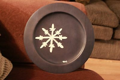 Painted white snowflake on Navy Blue 12x12 platter