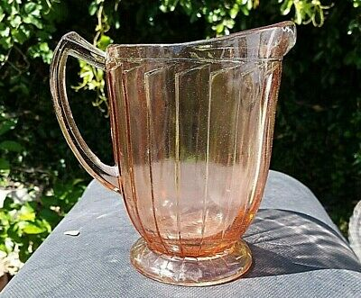 "RARE Pink Depression Glass Jeanette Sierra Pitcher 7"" Vertical Rib's"