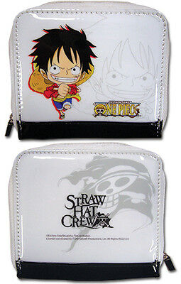 One Piece Chibi Luffy White Coin Purse Wallet Anime Licensed NEW