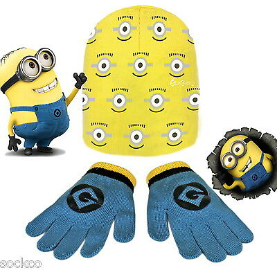 Official Minions Beanie Hat & Glove Set Boys Girls Kids New Gift Despicable Me