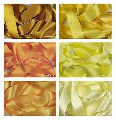 Double Satin Ribbon Berisfords Lemon & Yellow Shades Short lengths or Full Reels