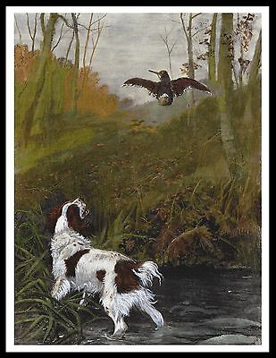 English Springer Spaniel And Woodcock Vintage Style Image Dog Art Print Poster