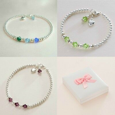 Sterling Silver Birthstone Bracelet with Heart Charm for Women or Girls.