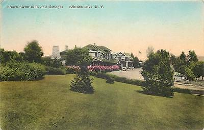 SCHROON LAKE, NY  Brown Swan Lake, Cottages 1949 Handcolored Albertype  Postcard