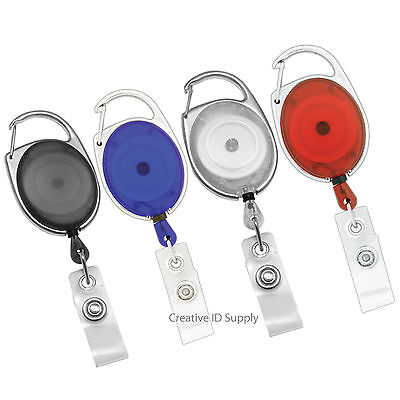 12 Carabiner Retractable Id Badge Holder Key Id Card Badge Tag Clip Holder