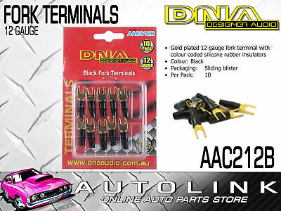 Dna 12 Gauge Black Fork Terminals - Insulated Gold Plated (10 Pack)