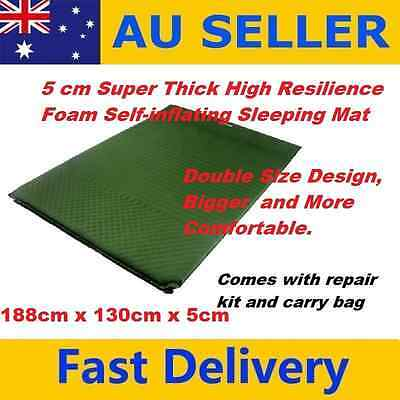 5cm Thick Double Sz Self-inflating Sleeping Mat Mattress Camping Hiking GREEN