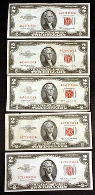 Lot of 5 Circulated 1963 $2 United States Legal Tender Red Seal Notes