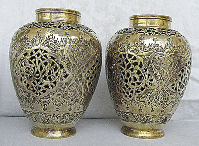 PERSIAN ISFAHAN ANTIQUE BRASS PIERCED PAIR OF VASES ENGRAVED FLORA 19th CEN.