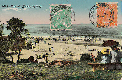 Stamps 1&1/2d & 1/2d KGV on 1924 postcard Cronulla Beach Sydney New South Wales