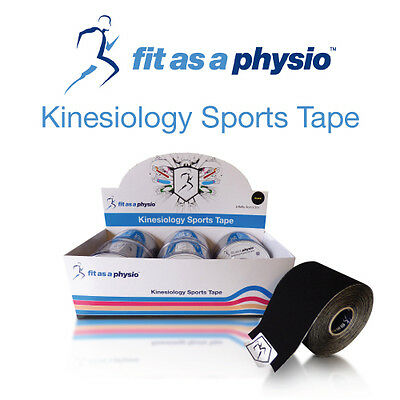 Kinesiology Sports Strapping Tape - 6 Black Rolls