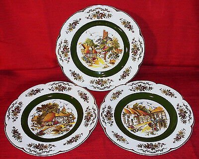 """Three Beautiful 10 1/2"""" ASCOT Ironstone Wall Plates by WOOD and SONS, England"""