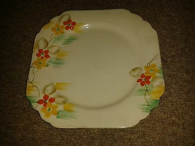 VERY RARE VINTAGE PHOENIX WARE T F & S LTD ORANGE YELLOW FLORAL CAKE PLATE